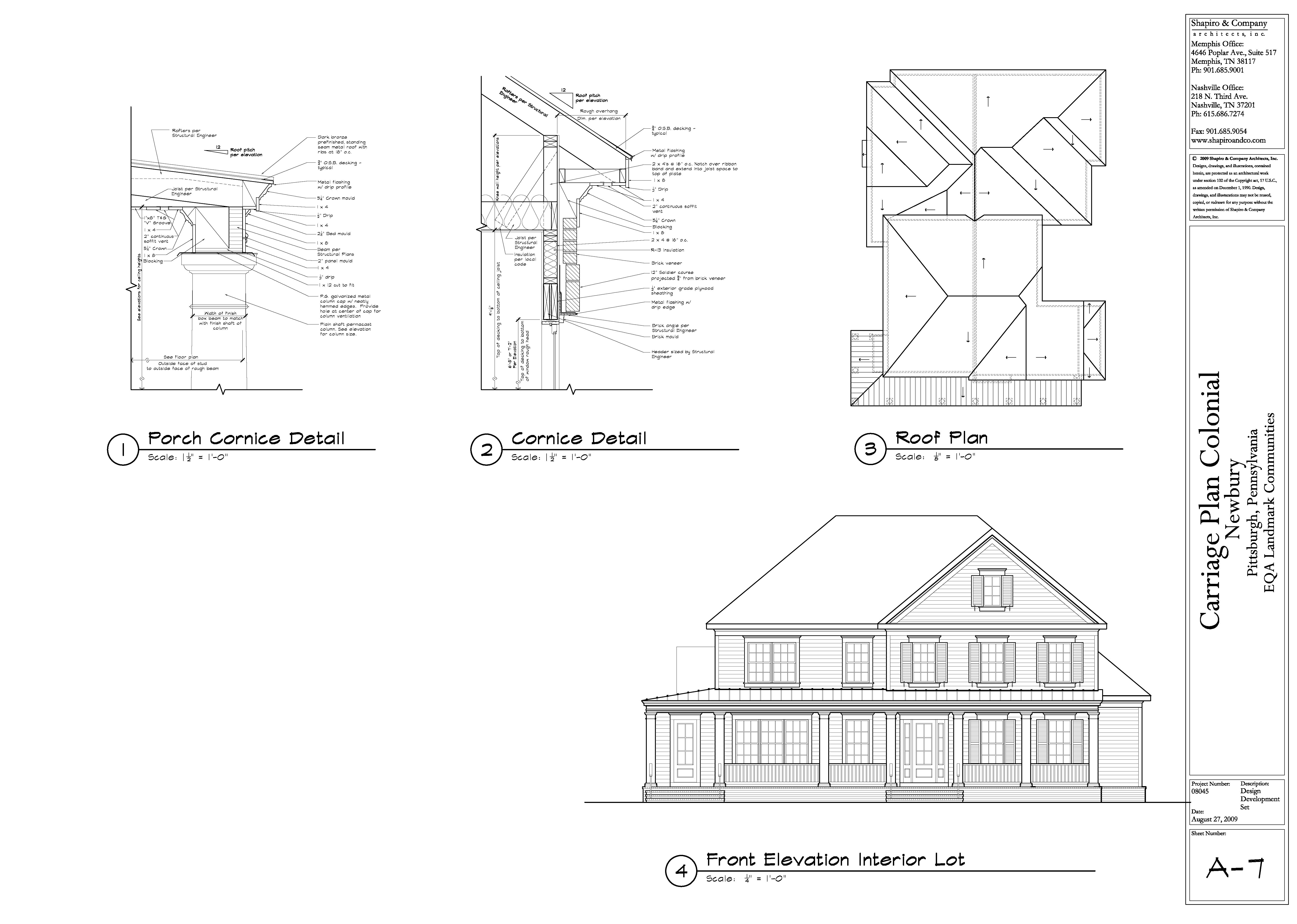 colonial front elevation roof plan porch cornice detail